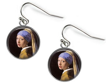 GIRL with a PEARL EARRING - Johannes Vermeer - Glass Fine Art Picture Earrings - Silver Plated