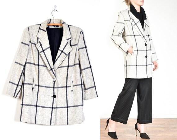 1980s Graphic Plaid Wool Minimalist Coat || size L