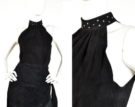 1980s Studded Suede Leather Raglan Halter Top || S