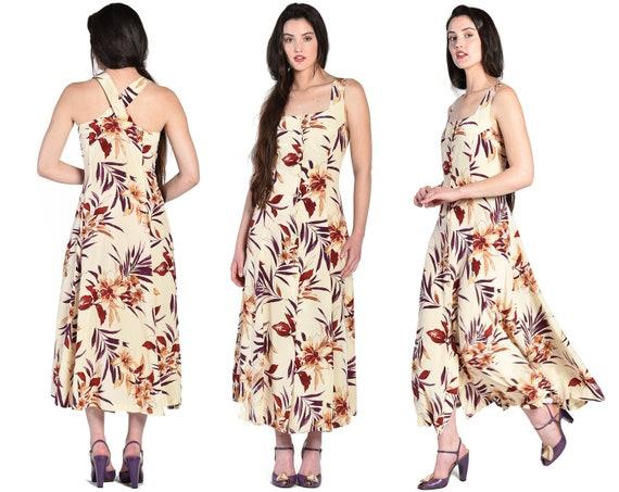 Iris 1980s Ivory Floral Silk Maxi Dress