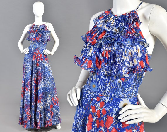 Lucie Linden 1970s Ruffled Floral Maxi Dress