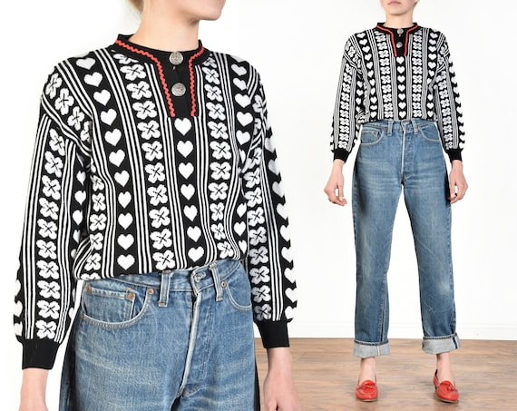 1980s Nordic Hearts + Clover Fair Isle Sweater   