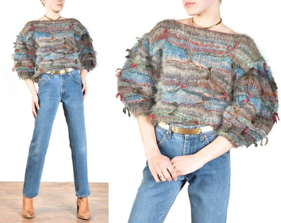 1980s Italian Hand Knit Mohair + Silk Sweater with