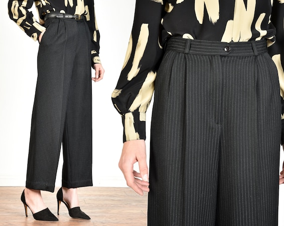 1970s Parisian High Waisted Wide Leg Pinstripe Woo