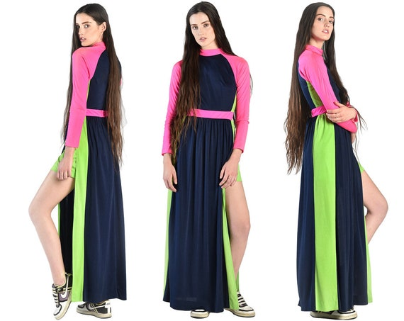 Sylvia 1970s Neon Colorblock Maxi Dress || 70s Col