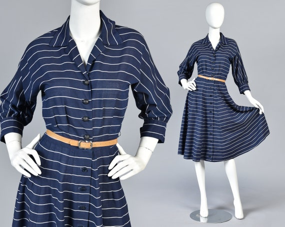 Leah 1950s Nautical Striped Gauze Shirt Dress