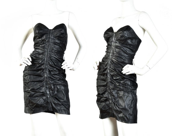 1980s Black Ruched Strapless Leather Mini Dress ||