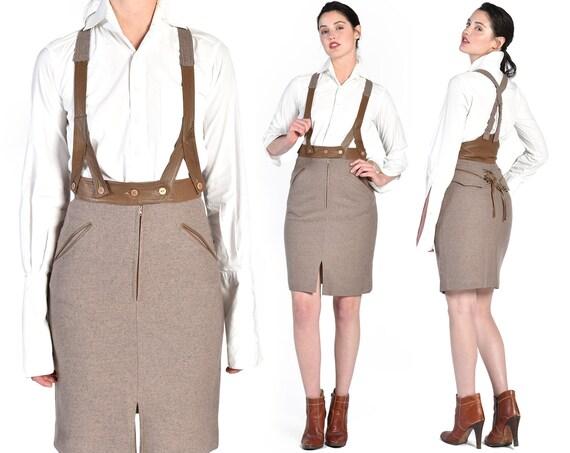 Moschino Wool + Leather Suspender Skirt || high wa