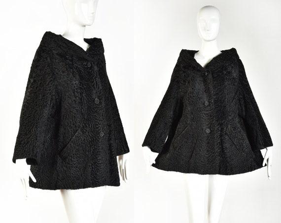1950s Black Astrakhan Lamb Fur Swing Coat