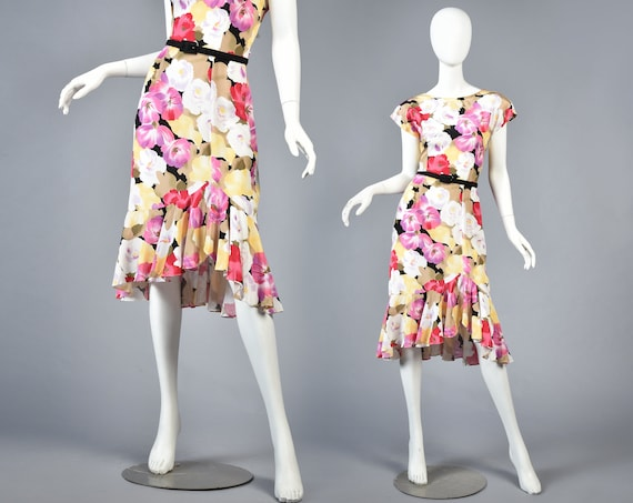 Florence 1980s Romantic Floral Ruffle Dress