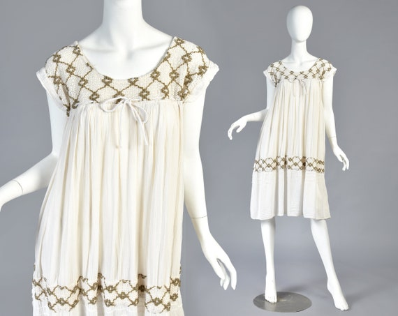 Maria 1970s Embroidered Ethnic Gauze Tent Dress