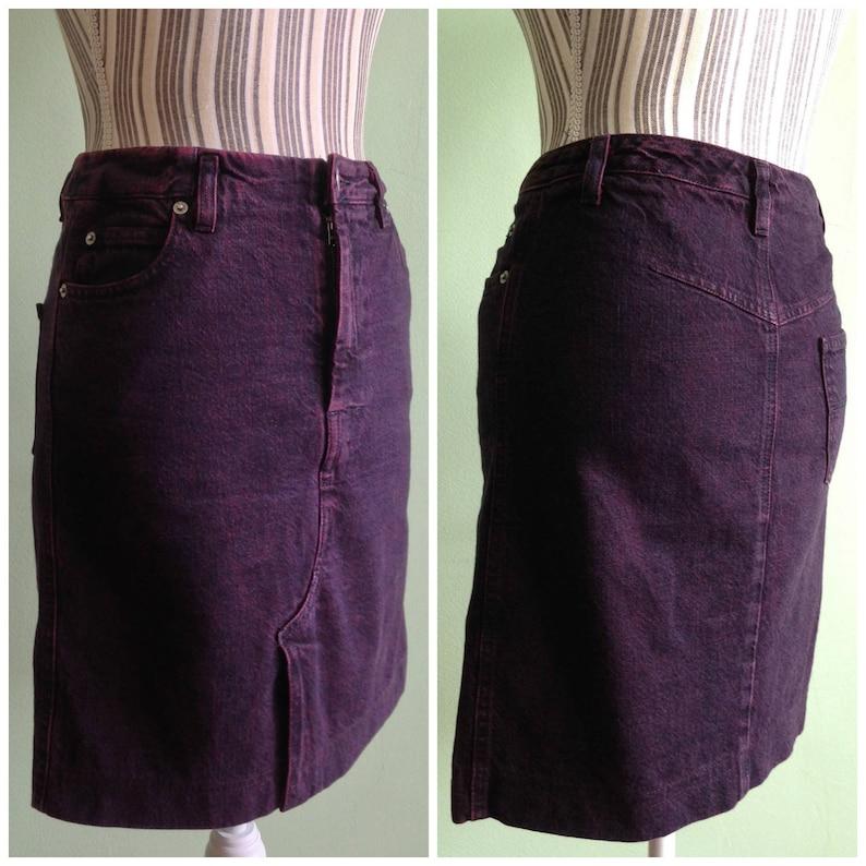 744aaadff Purple Denim Skirt Size S Eggplant Jean Skirt by Sisley   Etsy