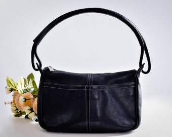 Furla Handbag, Made in Italy, Black Leather Bag, Genuine Leather Hobo Purse, Soft Leather Shoulder Bag, Small Zipper Hobo, Minimal Purse