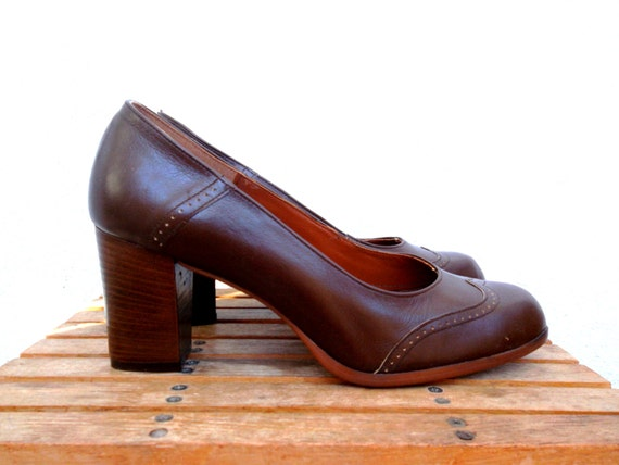 Brown Leather Shoes, Wingtip Platforms, Round Toe
