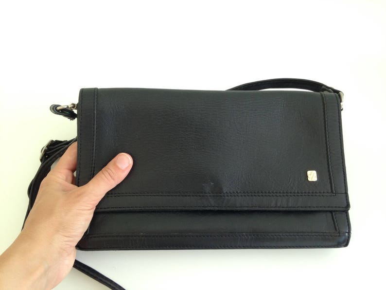 ad3016b718e3 Black Leather Envelope Purse Womens Satchel Bag 80s Shoulder