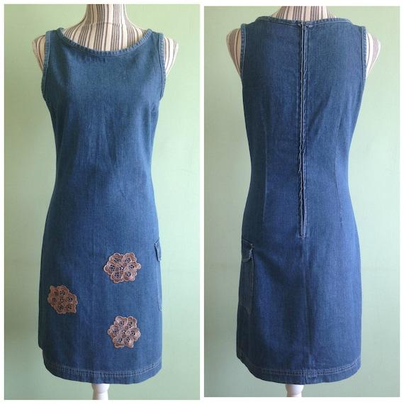 Denim Blue Fitted Midi Dress, Sleeveless Jeans Dr… - image 1