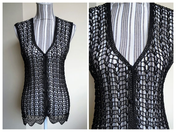 Black Lace Viscose Silk Crochet Cardigan, Buttoned