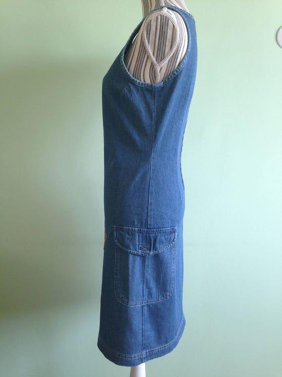 Denim Blue Fitted Midi Dress, Sleeveless Jeans Dr… - image 2