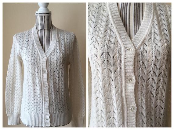 Boho Knit Lace Cardigan, Sheer Cream Women's Cardi