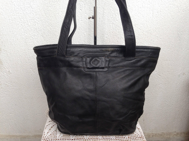 582c87b16e Large Black Leather Tote Bag With Zipper Big Shoulder Bag