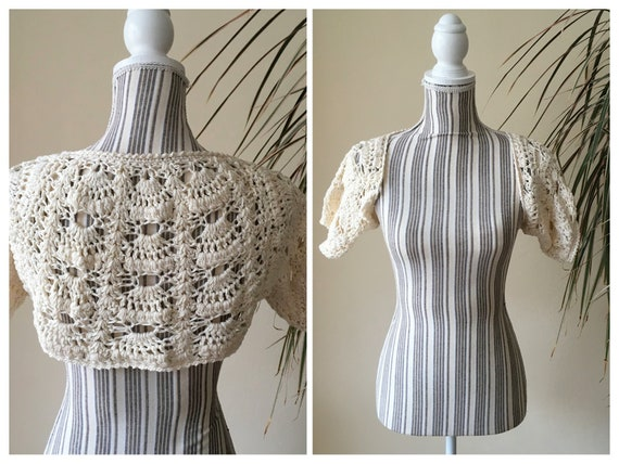 Off White Crochet Cardigan, Chunky Lace Crop Top,