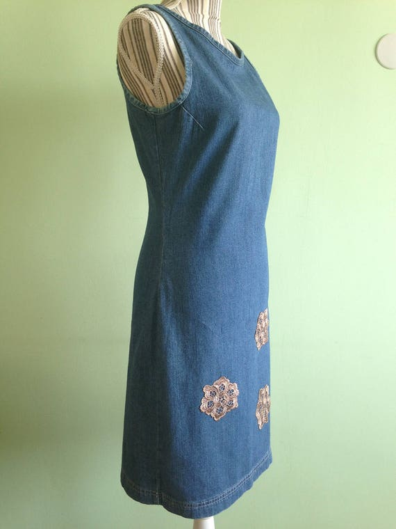 Denim Blue Fitted Midi Dress, Sleeveless Jeans Dr… - image 4