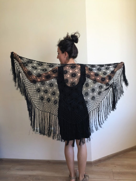 Handmad shawl Shawl Lace  Shawl Fringe Shawl