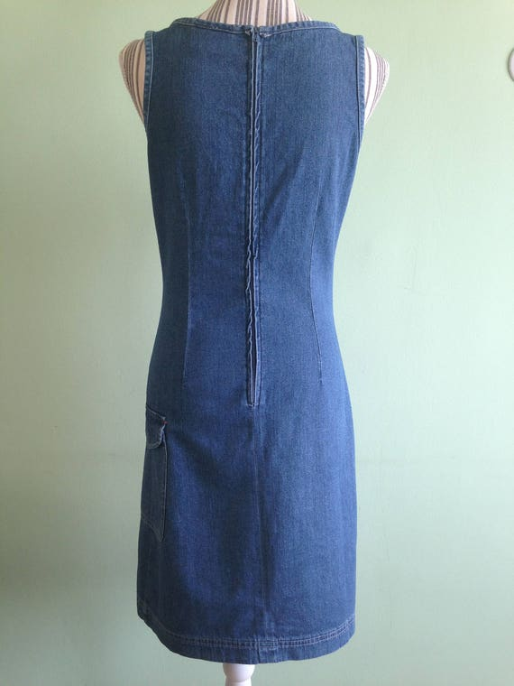 Denim Blue Fitted Midi Dress, Sleeveless Jeans Dr… - image 3