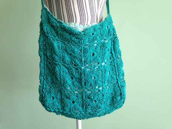 Crochet Hobo Bag, Medium Size Granny Square Bag, H