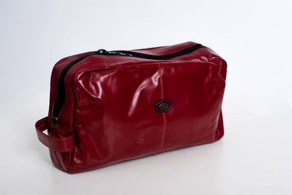 a58797925187 Oxblood Leather Dopp Kit Vintage 70s Toiletry Bag Mens