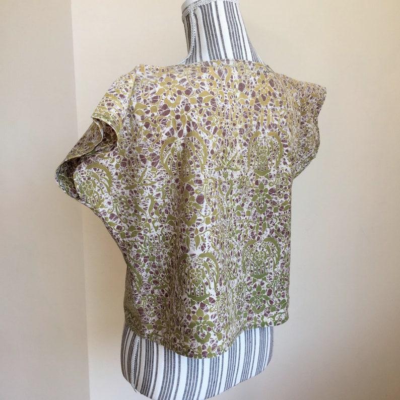Short Sleeve Boho Chic Shirt Bohemian Clothing Women/'s Olive Green Boho Top Abstract Print Festival Blouse 70s Loose Vintage Crop Top