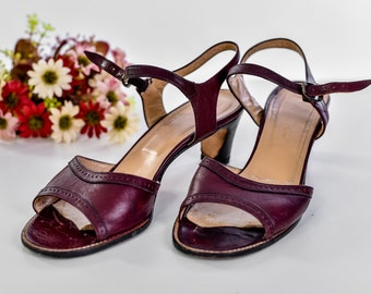 Vintage 70s Burgundy Leather Etienne Aigner Sandals Size EU 38.5, Open Toe Ankle Strap Leather Sandals Women, Block Heels High Heel Shoes