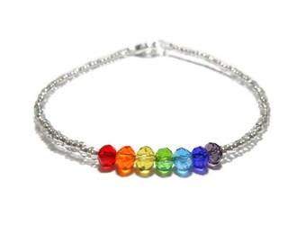 dainty chakra bracelet, 4mm crystal bracelet, rainbow bracelet, yoga bracelet, Rainbow crystals, ROYGBIV, pride gems, 7 chakra jewelry