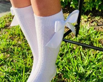LLLucky Kids Girls Chunky Ribbed Knit Knee High Socks Solid Cute Velvet Bow Stockings Beige