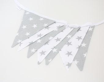Grey Flag Bunting Banner,  Grey Bunting, Nursery Banner Decor,Garland, Stars Bunting Banner, Bunting Baner