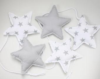 Stars Garland Wall Decoration Nursery Decoration Grey White