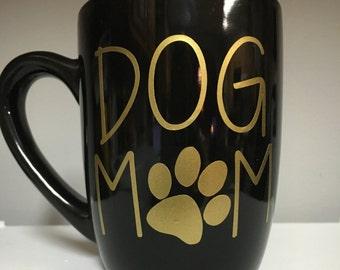 Dog Mom Mug Black Gold Pet Mom Cat Mom