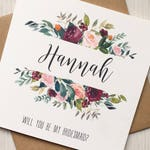 Will You Be My Bridesmaid Cards, Will You Be My Maid of Honour/Honor, Flower Girl, Bridesmaid Proposal Card, Burgundy Wedding Card