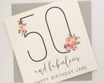 50th Birthday Card for Women, 50 and Fabulous Card, Happy 50th Birthday Female, 50th Birthday Card for Her, Personalised Birthday Card