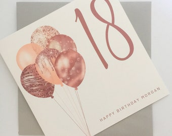 18th Birthday Card for Her, Personalised 18th Birthday Card, Eighteen Card, 18 Card, Age Birthday Card, Card for Her