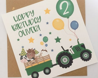 Tractor Birthday Card, Birthday Card for a Little Boy, Boy Birthday Card, Personalised Farm Birthday Card, Card for Son, Grandson, Nephew
