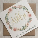 Will You Be My Bridesmaid Cards, Will You Be My Maid of Honour/Honor, Flower Girl, Bridesmaid Proposal Card, Gold and Blush Wedding Card