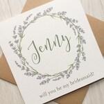 Bridesmaid Proposal Card, Lavender Bridesmaid Card, Will You Be My Bridesmaid Card, Personalised Bridesmaid Card, Floral Bridesmaid Card