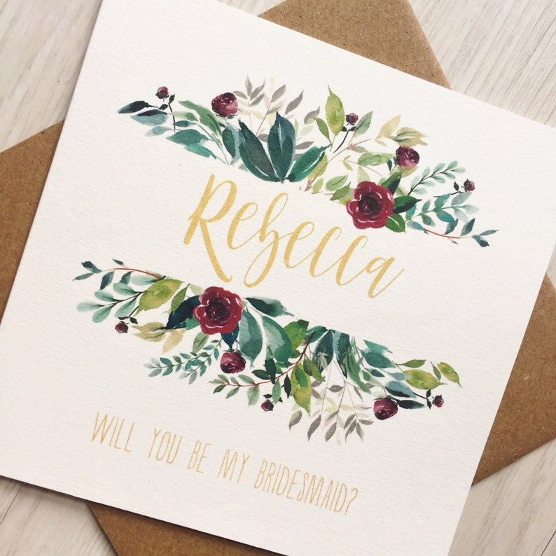 Will you be my Bridesmaid Card with Name Burgundy Bridesmaid image 0