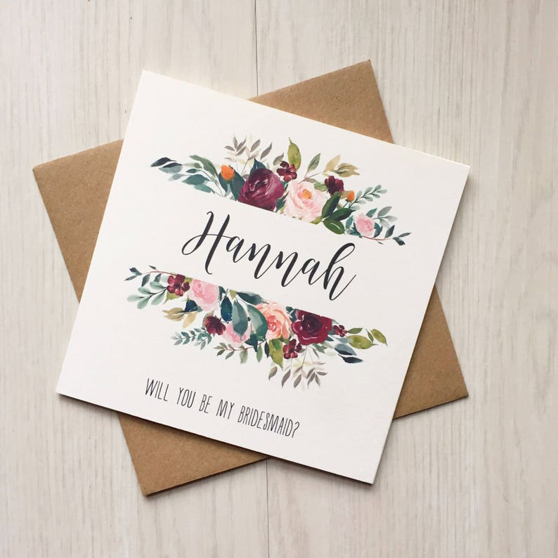Burgundy bridesmaid proposal ask maid of honor card image 0