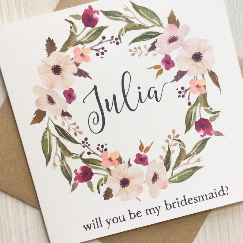 Personalise will you be my bridesmaid will you be my flower image 0