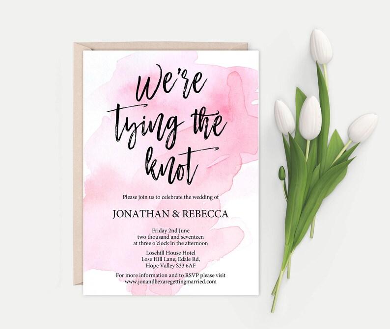 Simple Invitation DIY Wedding Invites, Printable Wedding Invitation Modern Calligraphy Minimal Wedding Invitations
