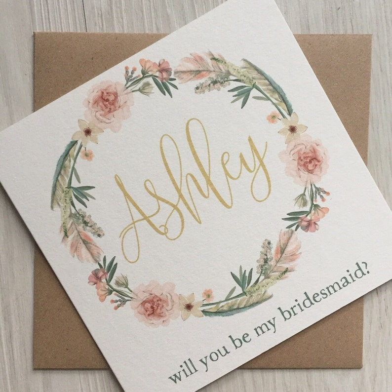 Maid of honor proposal bridesmaid proposal card flower girl image 0