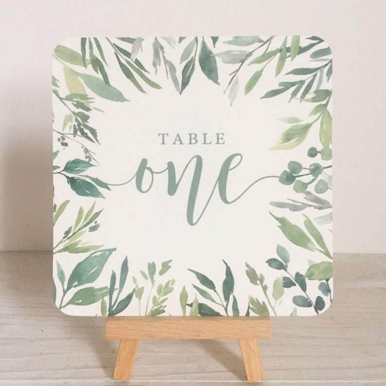 Wedding table number cards  greenery table number  greenery image 0