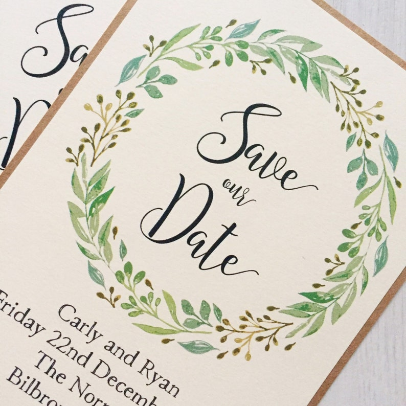 Rustic Wreath Save the Date Card Greenery Wedding Greenery Save the Date